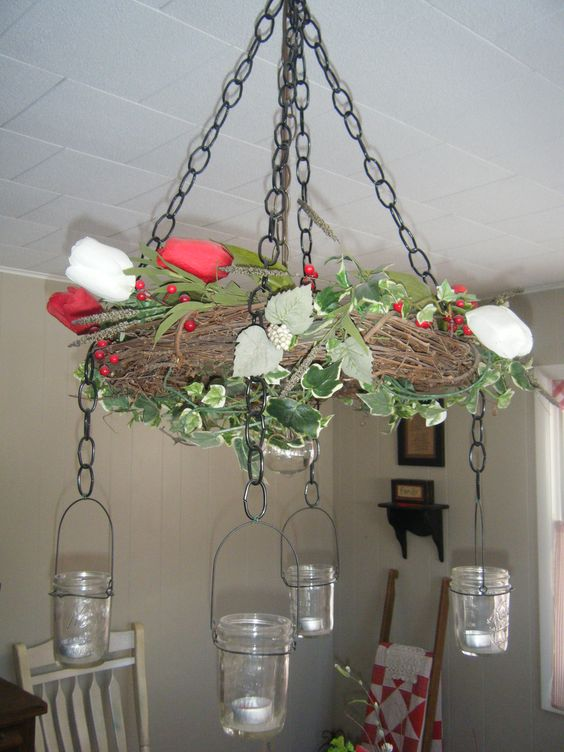 Make your own grapevine wreath chandelier creative home for Build your own chandelier