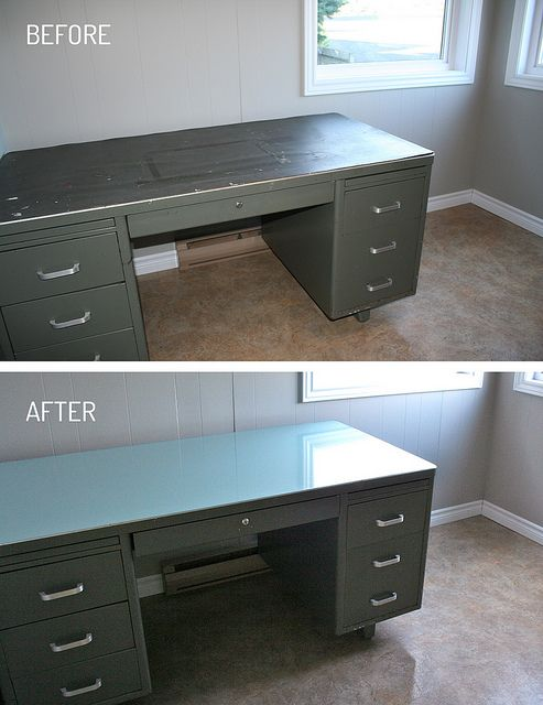 DIY Tanker Desk refinished top  This desk was so disgusting... the rubber top was so damaged (full of deep cuts, grease & grime, gum...). Here's what I did to refinish the top:  1) I peeled the old rubber off  2) Coated the bare metal with Rustoleum primer (2 coats, just to be safe)  3) 2 coats of light turquoise latex paint  4) After it dried, I poured a bartop epoxy over the whole thing!  I now have a usable, shiny new desk top - in the color of my choice! :)