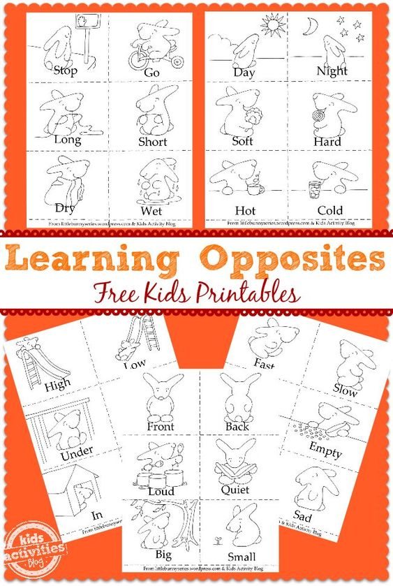 FREE* Learning Opposites Printables   Color and activity pages ...