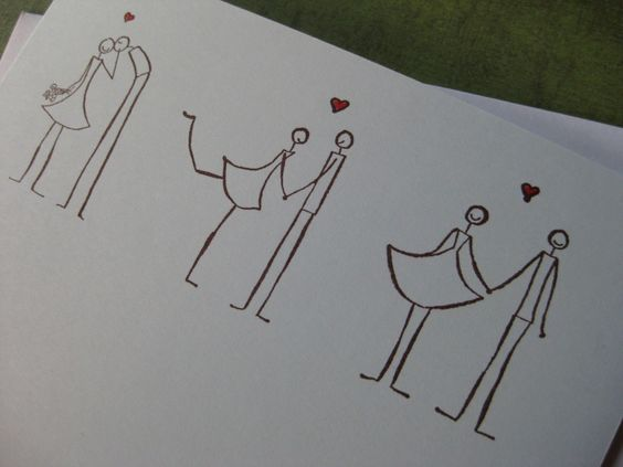 Stick Figure Wedding Invitations: Three Stick Figure Couples In Love- Would Be Such Cute