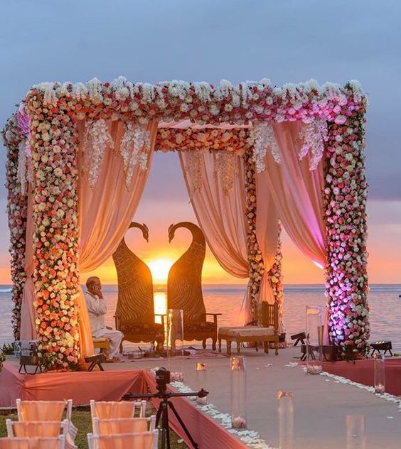 This mandap that sunset abhitina giving us all kinds of wedding abhitina giving us all kinds of wedding goals with their stunning nuptials in mauritius wedding plannershorizonwie pinteres junglespirit Gallery