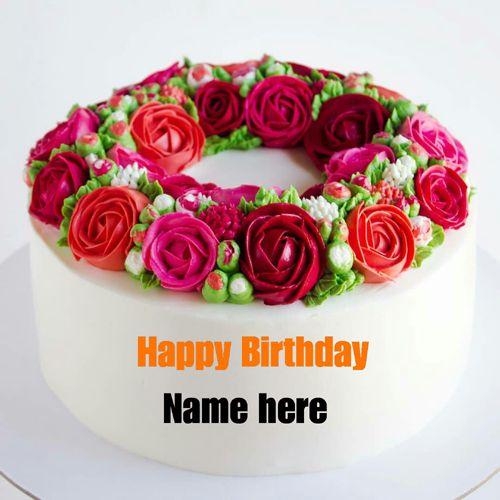 Rose Flower Birthday Cake Birthday Cake With Name Happy Birthday Cake With Name Bu Birthday Cake With Flowers Creative Birthday Cakes Special Birthday Cakes