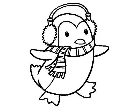 Dibujo de ping ino con bufanda para colorear dibujos de navidad pinterest dibujo y navidad - Imagenes navidenas para colorear ...