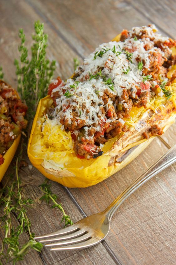 Stuffed spaghetti squash with tomato and ground beef for What meals can i make with ground beef
