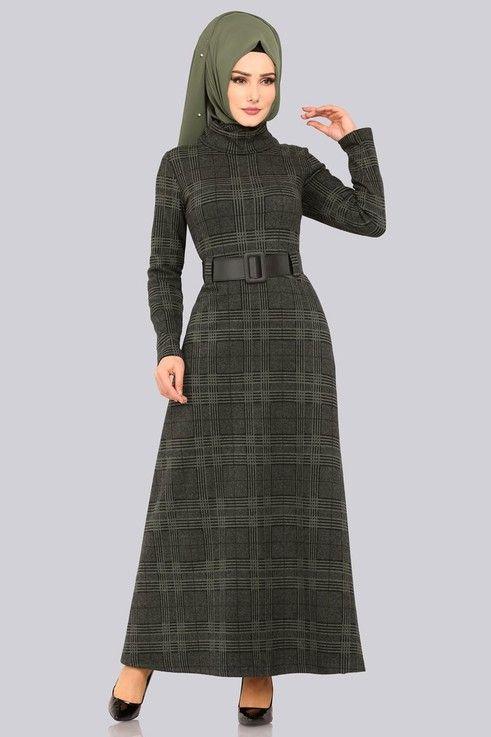 Modaselvim Elbise Bogazli Kislik Elbise 5488mp186 Haki Dresses High Neck Dress Fashion