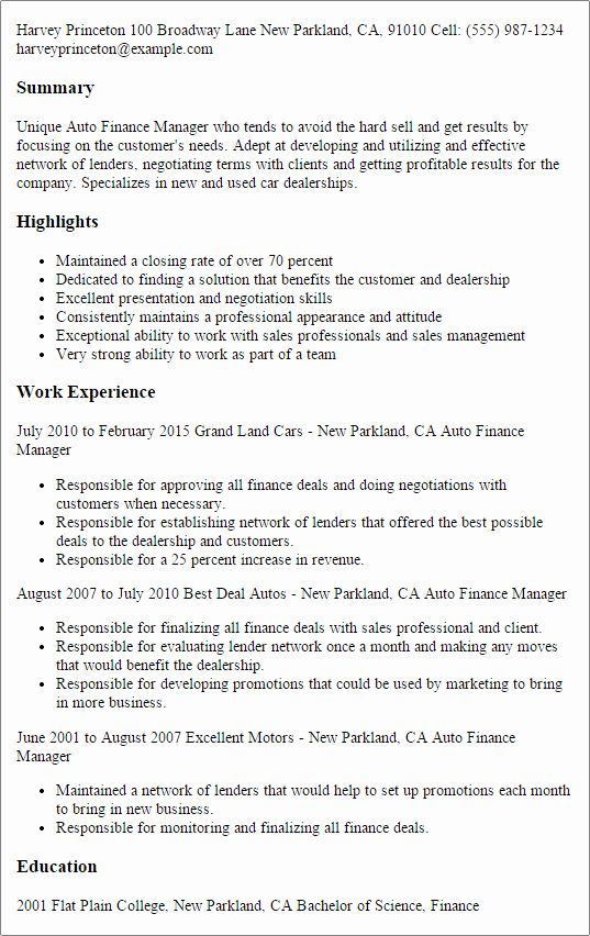 Automobile Sales Manager Resume Lovely Professional Auto Finance Manager Templates To Showcase Sales Job Description Job Resume Examples Medical Coder Resume