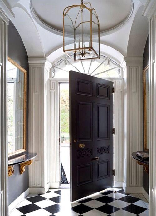Foyer Black Door : Oversized door great entrance design black and white