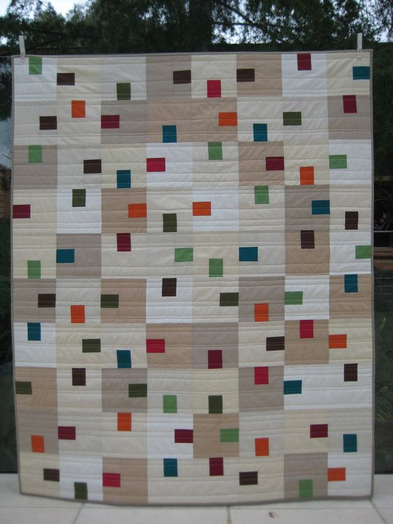 'Tempest' - all in solids with straight line quilting.: