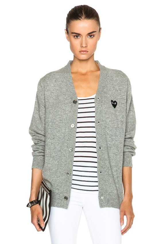 Comme Des Garcons PLAY Wool Black Heart Emblem Cardigan in Light Grey