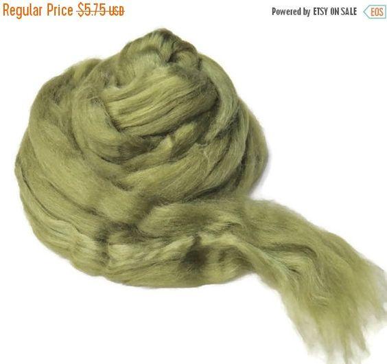 SALE 1 oz Silk Roving ,color, Asparagus