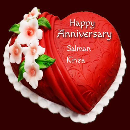 Write Name On Designer Heart Shape Anniversary Cake In 2020 Happy Anniversary Cakes Anniversary Cake Happy Marriage Anniversary Cake