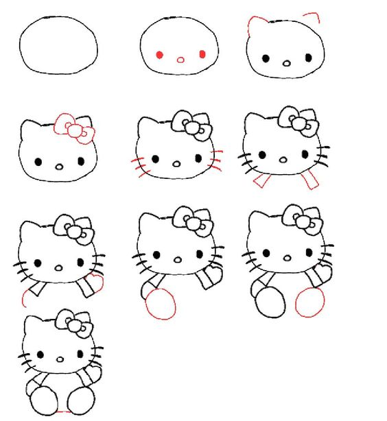 Lovely Comment Dessiner Hello Kitty Facilement #12: How To Draw Hello Kitty For Kids.