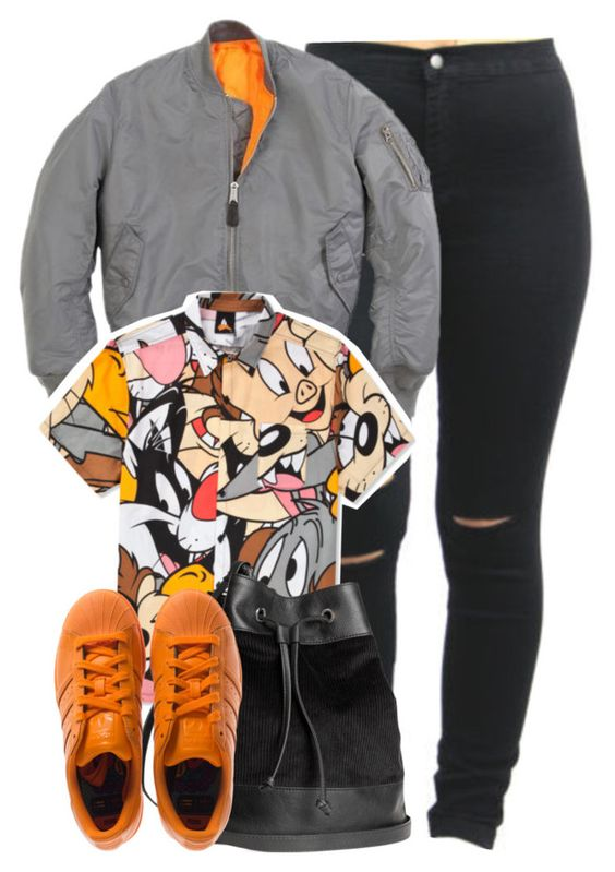 Looney Tunes x Orange Adidas by cheerstostyle on Polyvore featuring polyvore, fashion, style, Lazy Oaf, adidas and H&M