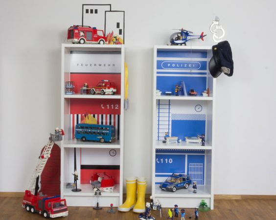Toy house DIY - Create a police and fire station with furniture decals for two IKEA Billy bookcases (1W-SH03-03):