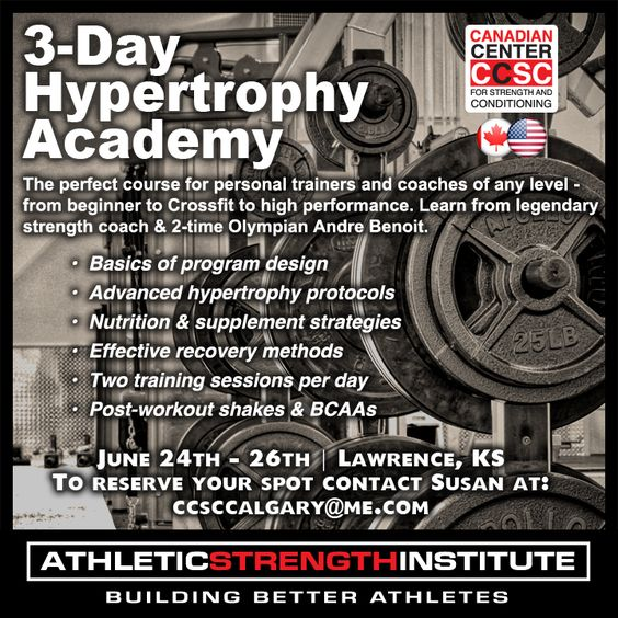 3-day Hypertrophy Academy  Coming in June !