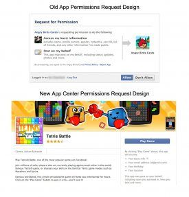 Facebook old vs new permissions design