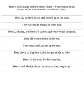 Henry and Mudge and the Starry Night ~ Story Sequence Strips ...