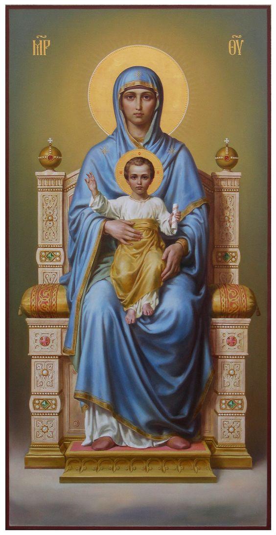 Икона Богородица на престоле, академический стиль: