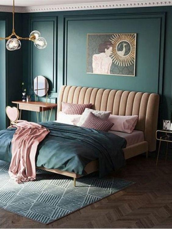 cat dinding kamar 2 warna pink dan biru 3