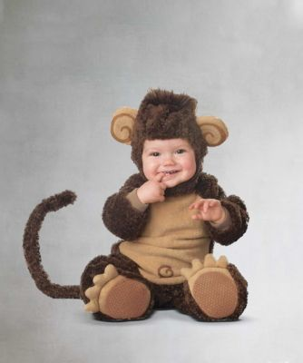 baby monkey costume - If ever there was a costume to go bananas over, this is it. Imagine your little monkeyshine in this plush bodysuit and hood.