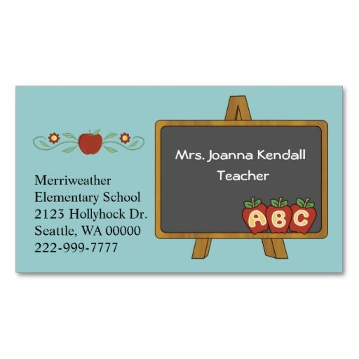 Colorful Custom Teacher s Business Card