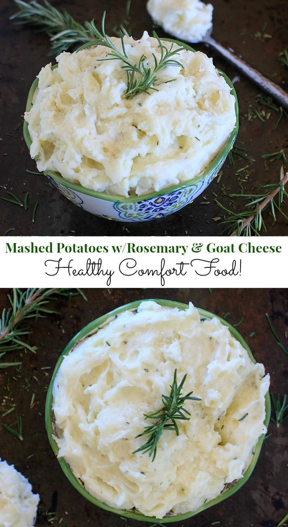 and so easy too! Healthy Mashed Potatoes with Rosemary and Goat Cheese ...