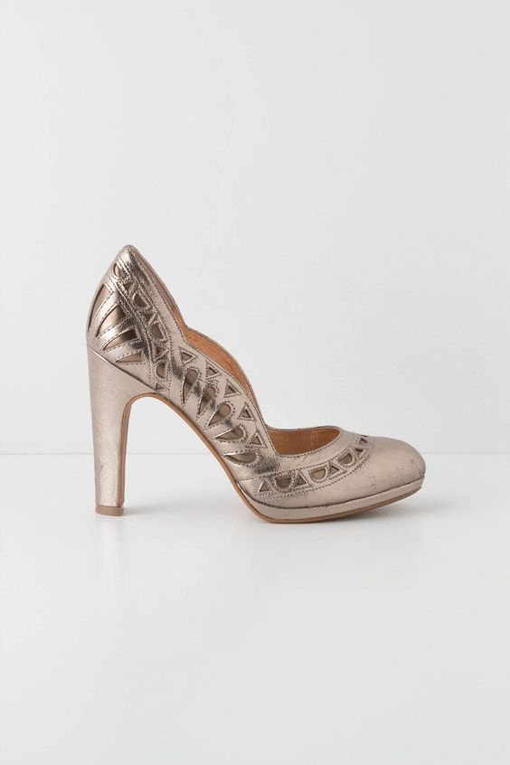 #fallfaves Anthropologie Petal-Scalloped Pumps in Silver. $178. @Anthropologie .