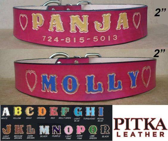 Red Dog Collars Wide Leather Dog Collars with Name XXL Custom Dog Collar USA…