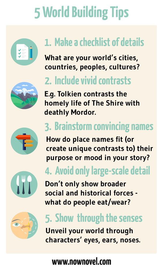 Infographic - world building tips | Now Novel  #worldbuilding #writing #authors