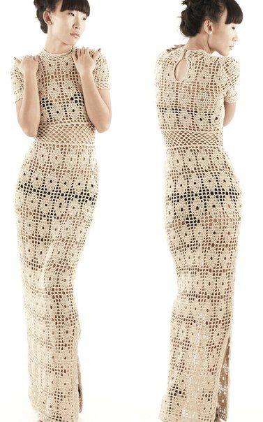 Персиковое дерево - платье крючком от Cristina Adami