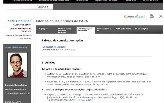 Citer selon les normes de l'APA