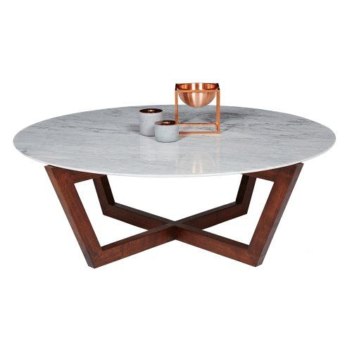 Marcello round coffee table italian carrara marble and solid american walnut urban couture Round marble coffee tables
