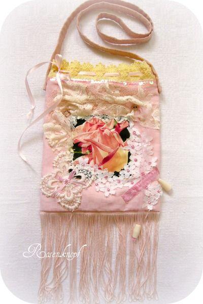 Handtasche COLETTE Brauttasche Rosa Rose Spitze von Rosenknopf auf DaWanda.com
