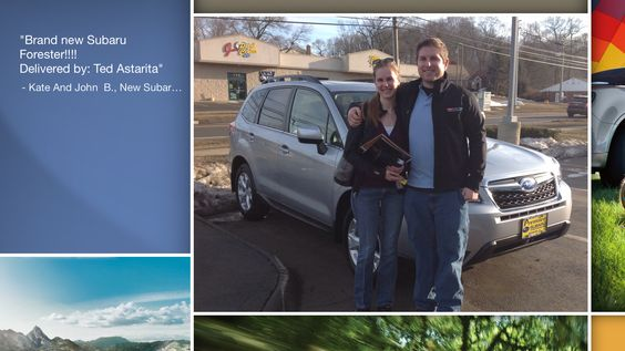 Dear Kate And John Bagnoli   A heartfelt thank you for the purchase of your new Subaru from all of us at Premier Subaru.   We're proud to have you as part of the Subaru Family.