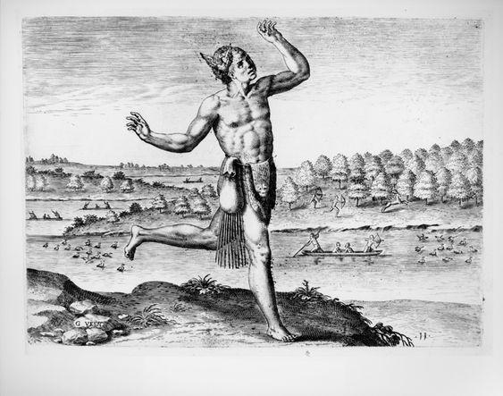 El baile de «Magos Prastigiatores» en Virginia según grabado del libro «Admiranda narratio fida tamen, de commodis et incolarvm ritibvs Virginiæ» de Theodor de Bry y Thomas Hariot