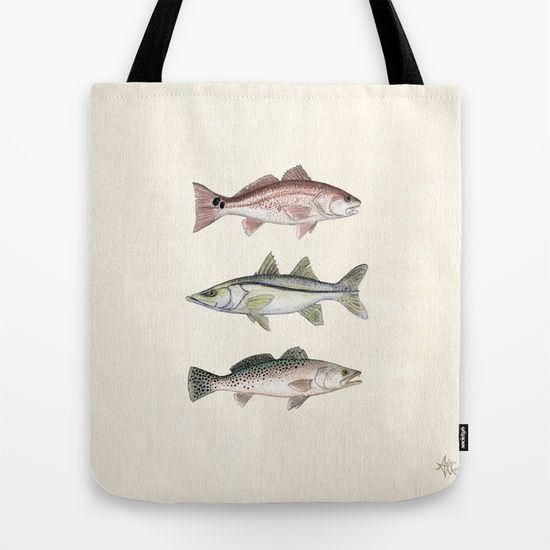 Inshore Slam - Watercolor Fish Art by Amber Marine | Redfish, Snook, Trout!