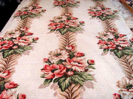 VINTAGE BARKCLOTH DRAPE shabby PINK FLORAL textured fabric panel VGC chic