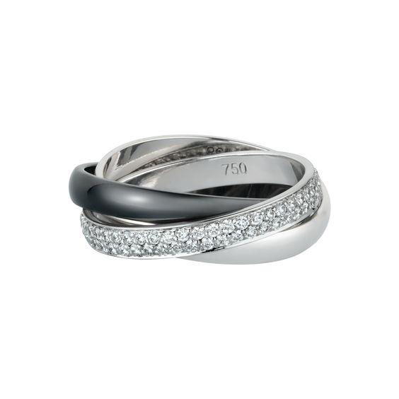 Bague Trinity noir et blanc, petit modèle. Bague en or gris 18 carats, un anneau pavé de 100 diamants, un anneau en or gris et un anneau en céramique noire. Petit modèle. Largeur d'un anneau : 2,9 mm.