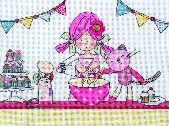 Fun loving character Emily Button shares the joy of baking cupcakes with her best friends Bobble and Mousey with this super cross stitch kit from Anchor.   A top choice of gift for any fan of the character or young girl who loves to bake cakes all day long.  #EmilyButton #CrossStitch #Baking