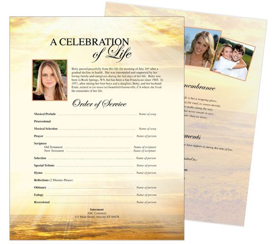 Memorial Flyer Sheet Template Designs Lighthouse One Page Funeral - funeral flyer template