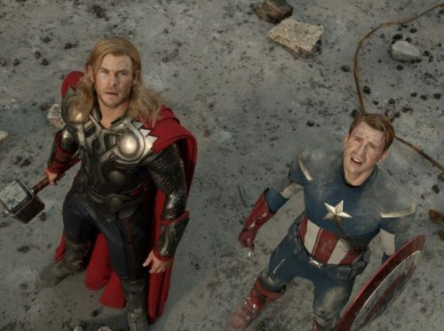 Chris Hemsworth as Thor and Chris Evans as Captain America in the Avengers Movie  http://www.moviesandtvhistoryguy.com/the_avengers_movie_2012.htm
