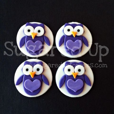 Owl Fondant Cupcake Toppers by Sugared Up  www.sugareduptoppers.com