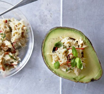 Crab in avocado, so yummy!  All it needs is a light drizzle of EVOO and apple cider vinegar.  A few artichokes chopped in would be delish!