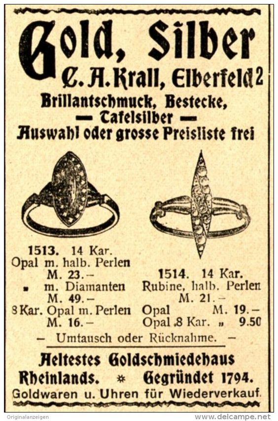 Original-Werbung/ Anzeige 1898 - GOLD / SILBER / KRALL - ELBERFELD - ca. 45 x 75…
