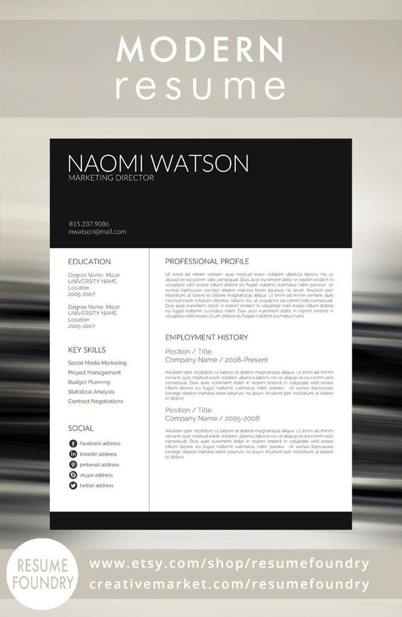 Modern Resume Template from Resume Foundry This resume is sure to - modern resume layout