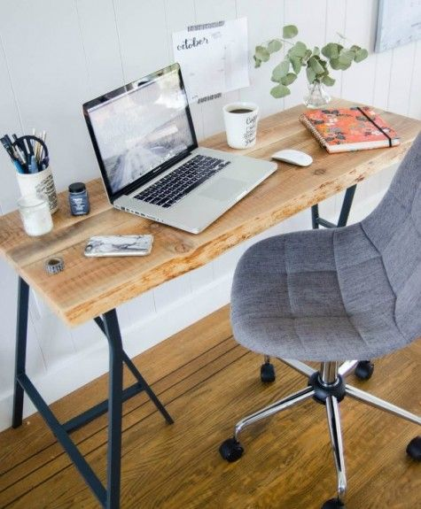 24 Best Ikea Desk Hacks To Need To Try Best Ikea Desk Hacks A Rustic Desk Made Of Ikea Lerberg Trestle Legs And Live Edge Desk Ikea Desk Ikea Desk Hack