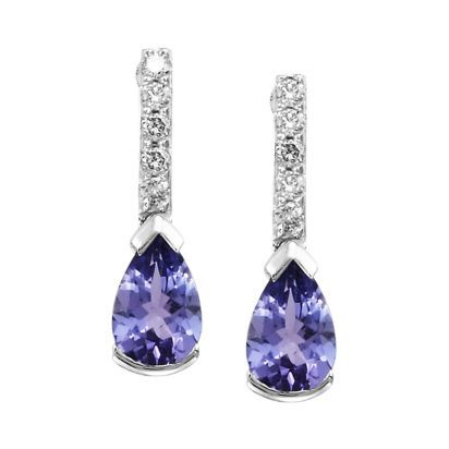 14K White Gold Earrings with Pear Shaped Tanzanite and Diamonds, $1,250 #ClineJewelersWishList