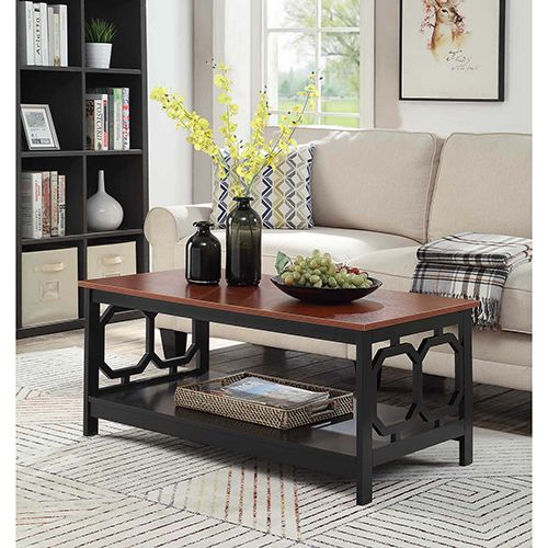 Convenience Concepts Omega Cherry Top Coffee Table With Black Frame 203220ch In 2020 Decor Table Coffee Table With Storage