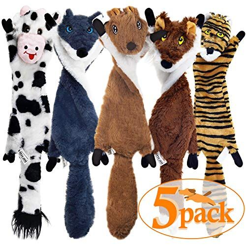 Sharlovy Dog Squeaky Toys 5 Pack Crinkle Dog Toy No Stuffing