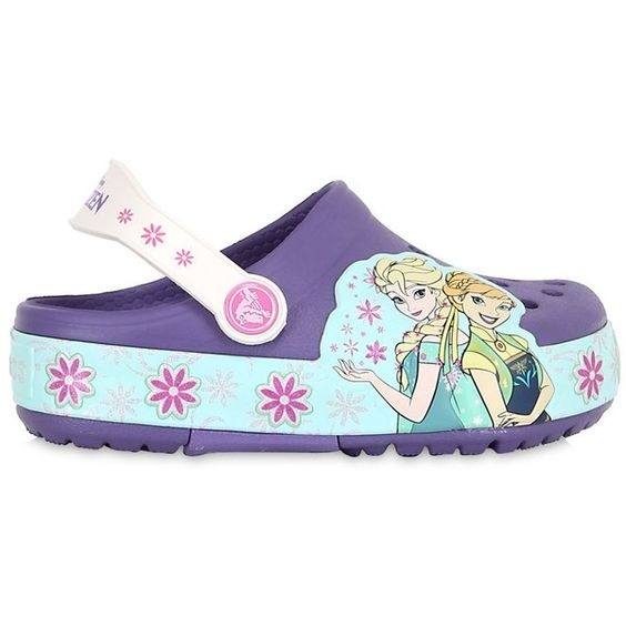 Crocs Kids-girls Frozen Light Up Rubber Crocs (€63) ❤ liked on Polyvore featuring violet